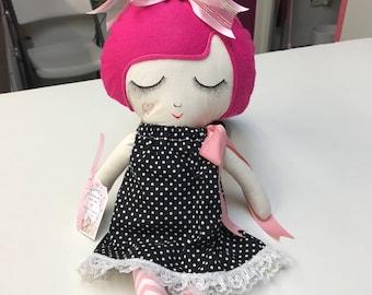 Cute pink heart tattoo fabric rag doll
