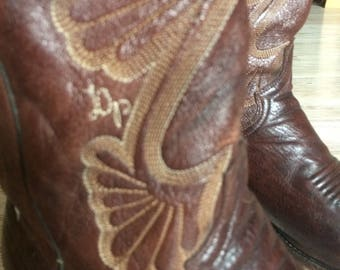 Men's vintage 1970's Dan Post Cowboy Boots Size 11D embroidered