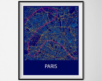 Paris Map Poster Print - Night