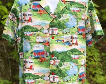 Retro Rv Campers Trailers Hawaiian-Style Shirt