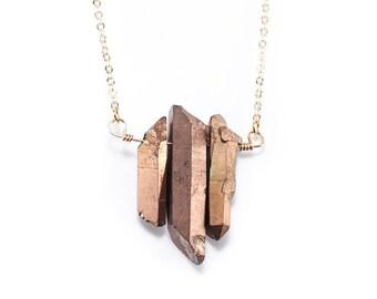 Matte Bronze Tri- Point Quartz Pendant Necklace