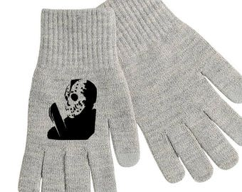 Jason Voorhees Friday the 13th Thirteenth Touch Screen Compatible Texting Stretch Knit Gloves Winter Clothes Horror Halloween Merch Massacre