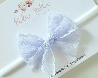 Lilac lace bow, Baby Headband, Baby Bows, Bows, Newborn bow, Hair Bows, Hair Accessories, Newborn Headband, Infant Headbands