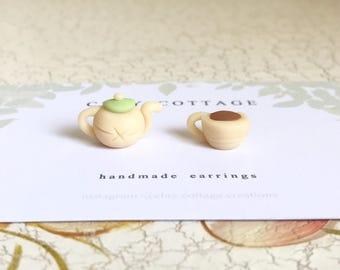 Pot & Tea Mismatch Stud Earrings