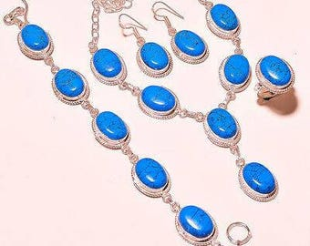 SALE, Free Shipping Turquoise & Silver Jewelry Set with Ring
