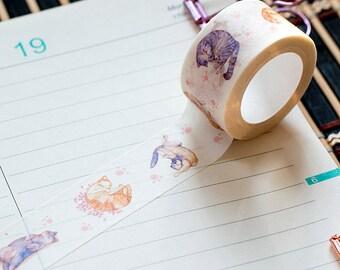 Cute Cat Washi Tape   Kawaii washi tape   Washi Tapes cat   Masking Tape sleepy cat   Planner tape   Diary tape   Kawaii Cat   cat   sleepy
