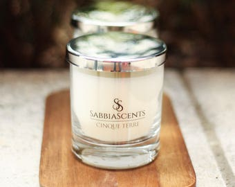 Lavender, Cotton, Lilies SabbiaScents Luxury Candle - Costiera Amalfitana Highly scented candles - Home decor - Soy candle - Handmade