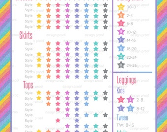 My Size Card | Sizing Chart | Clothing Size Chart | Clothes Sizing Card | 5 x 7 Personalized | Glitter Stripe Design