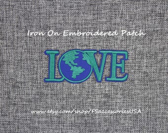 Lova Patch Love Earth Iron On Patch 4'' x 1.7''  Word Patch Top-Quality Patch Embroidered Patch