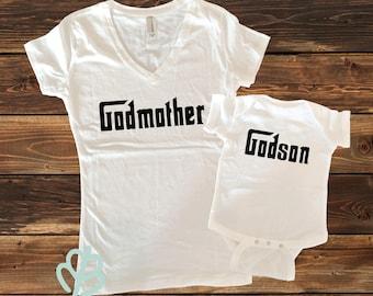 Godfather shirt, godmother shirt, matching godparent shirts, baby shower gift, baptism shirts, infant bodysuit, godson, goddaughter