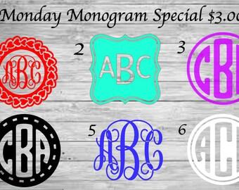MONDAY Monogram Sale | Personalized Decal | Vinyl Decal | Tumbler | Laptop | Phone  | Notebook | Car | Window | Monogram | Heart | Custom