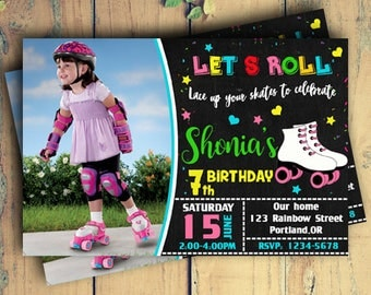 Roller Skating Birthday Invitations With Photo|Roller Skating Photo|Roller Skating Birthday Invitations|Roller Skating Birthday|Roller Skate