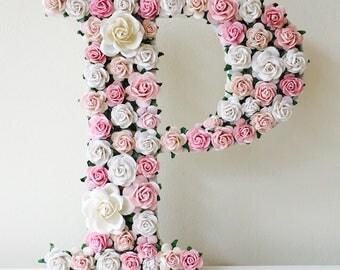 floral and flower letter // baby shower gift //christening gift // wedding gift // birthday gift // nursery decor // new baby gift //flowers