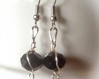 Wire wrap black and silver earrings