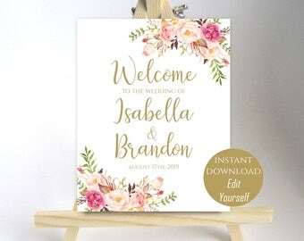 Welcome Wedding Sign Welcome to our Wedding Printable Welcome Sign Ceremony Poster Board DIY Instant Download PDF 8x10, 11x14, 18x24
