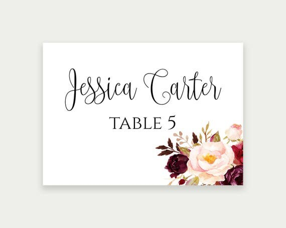 Wedding Place Cards Place Card Template Editable Reserved - Reserved place card template