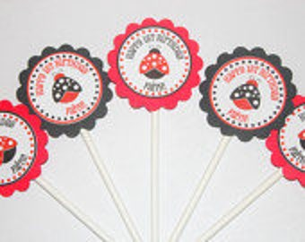 Lady Bug Cupcake Toppers, Lady Bug Favors, Lady Bug Birthday Party Toppers, Lady Bug Birthday Party Decor, Ladybug birthday