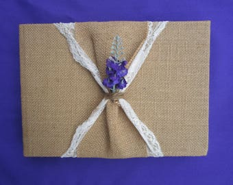 Guestbook Burlap and Lace