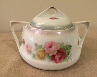 Bavarian Sugar Bowl, China, Vintage Floral Rose, Made in Bavaria