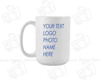 White Coffee Mug 15oz Custom photo name text logo personalized gift new Ceramic