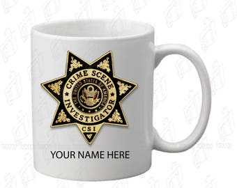 CSI Personalized Coffee Mug 11oz Ceramic CUSTOM Crime Scene Investigation NEW!