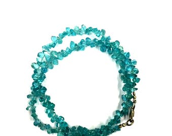 """Natural Blue Apatite Faceted 18"""" Strand Twisted Apatite Teardrop Shape Gemstone Beads 4mm"""