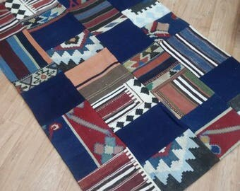 Turkish Vintage Patchwork Rugs Kilim, Office Decor, Area Rugs kilim, home decorative Rugs,135x175cm,Handmade patchwork kilim rugs