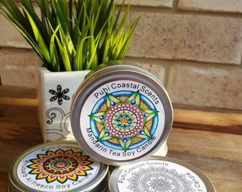 Mandala Inspired Tin Candle, soy Wax, Highly Scented, Australian Seller, Travel Tin