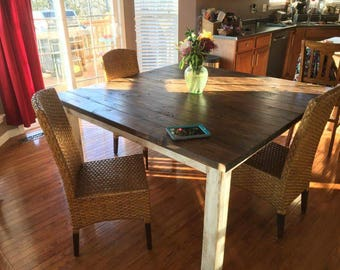 Square Farm Table w/Antiqued Painted White Legs