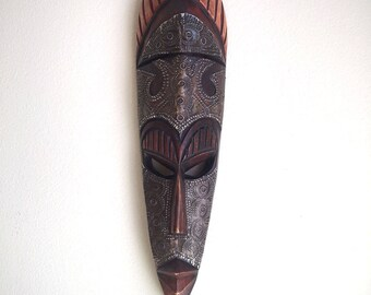 African Mask from Ghana/ Wood and Tin Hand Carved Mask From Africa/ African Tribal Mask Wall Hanging