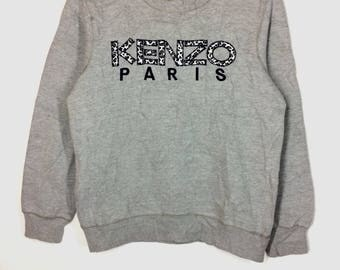 Rare !!! Vintage KENZO Sweatshirt vtg Kenzo Paris Spellout Big Logo Leopard Design Pullover Jumper Crewneck Shirt