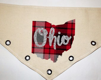 Plaid OSU script Ohio hand cut grommet Canvas dog pet Bandana tie-front or over collar!  XS S M L XL  Any State or Color plain or glitter!