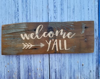 Welcome Y'All, Rustic, Distressed, Wood Sign, Home Decor, Reclaimed Wood, Brown, Tan