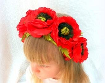 Red poppy headband Poppy flower crown Red poppy accessorie Flowerchild headband Hair hoop flower Handmade hair hoop Floral crown