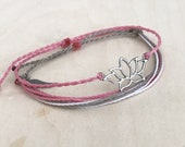 Lotus Duo (2) - Adjustable, Stackable, Waxed Polyester, Linhasita Corded Charm Friendship Bracelets