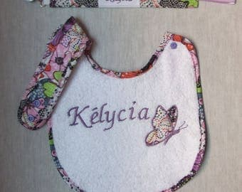 Pacifier clip with personalized bib set