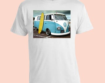 Kombi Van. Surfboard. Retro Mens T-Shirt. White 100% Cotton