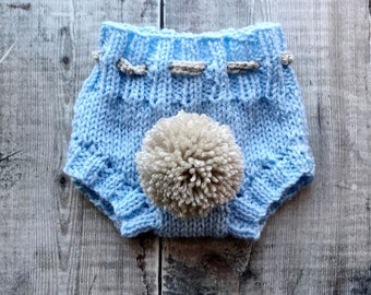 Baby bunny bloomers - knitted nappy cover - spring pompom shorts - easter bunny bloomers - newborn photo prop - baby shower gift