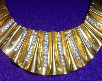 Rhinestone necklace, bib necklace, statement necklace, couture necklace, gold tone necklace, vintage necklace, New Years necklace