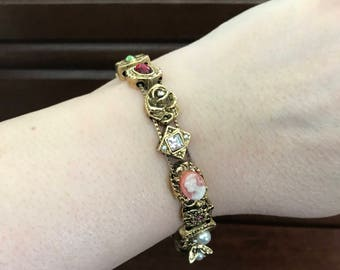 Vintage Joan Rivers Rare Slide Bracelet. Joan Rivers Jewelry. Charm Bracelet. Victorian Style Bracelet. Collectible Jewelry. Gifts for Her.