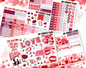 Valentine's day weekly kit / February weekly kit / Mini weekly kit / Planner stickers / Weekly kit