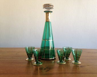 Liqueur set - green and gold - Art deco - France