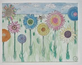 Rainbow Flowers Original Watercolor