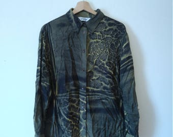 Vintage Retro Patterned Collared Shirt