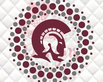 Trojans Mascot Circle SVG, Silhouette studio bundle - design download