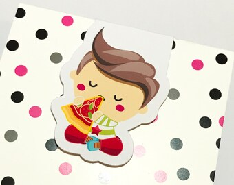 Magnetic Bookmark. Boy Eating Pizza Bookmark for books, planners and notebooks
