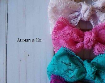 Lace hair bows, bows, hair bows, baby bows, baby headbands headbands