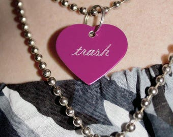 Customizable Heart/Dog-Tag Necklace on Ball Chain