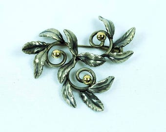 "Silver & Gold ""Holly"" Brooch Art Deco Period"