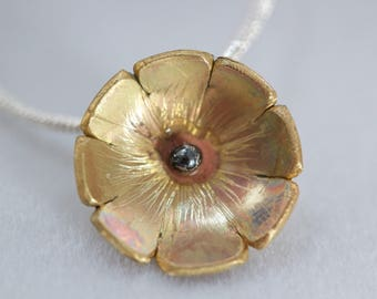 Hand made flower pendant, combination of brass and silver with a silver chain